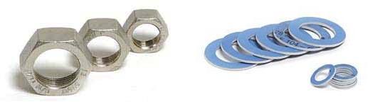 Комлект гайки и клингиритови уплътнения DN12 (10 броя)